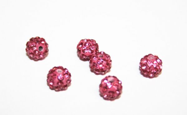 10pcs x 6mm Pink Pave Crystal Bead - 2 holes  PCB06-55-006